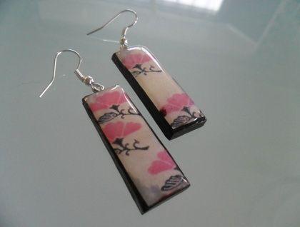 vintage flower tile earrings hand crafted
