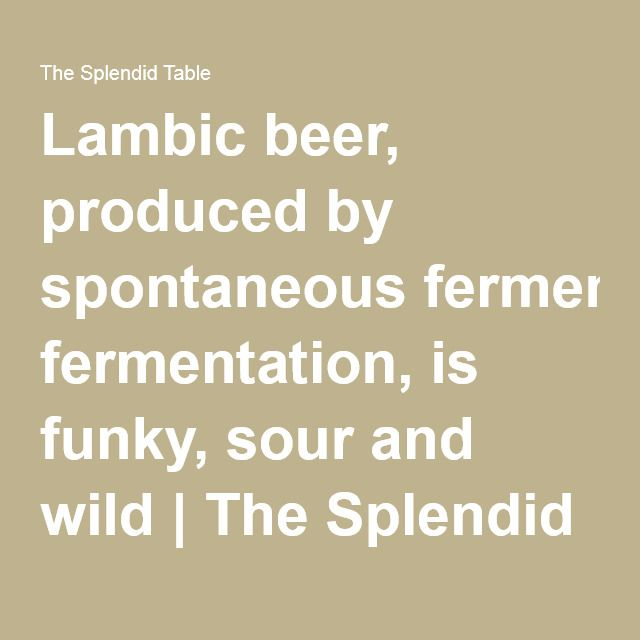 2016 May 21 episode:Lambic beer, produced by spontaneous fermentation, is funky, sour and wild | The Splendid Table