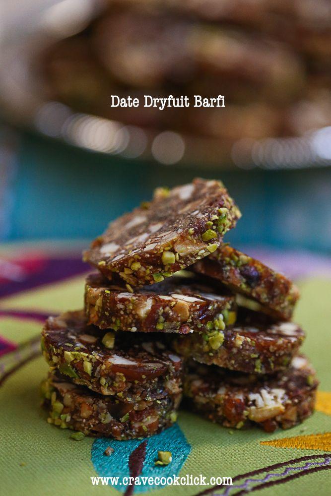 Date Dryfruit Barfi Recipe (use coconut oil and shredded coconut)