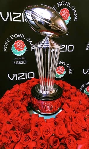 The Rose Bowl Trophy, awarded to the winning school that wins the Rose Bowl game.