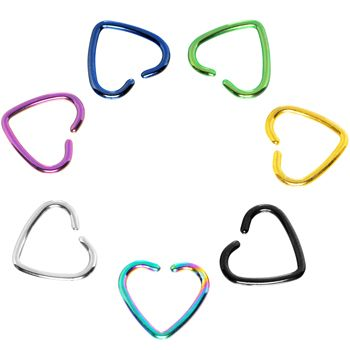 Rainbow Titanium Hollow Heart Clip On Closure Cartilage Earring $5.99 #piercing #jewelry #cartilage