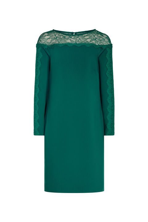 12 Chic (and Warm) Dresses to Wear to a Winter Wedding We found the perfect formal winter outfits to wear.   Holiday wedding? We've got you covered. Lace-Detail Shift Dress, $345; reiss.com.