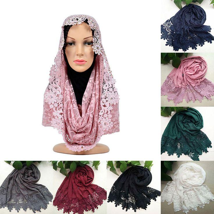 Fashion Women Lace Flower Muslim Hijab Shawl Long Scarf Scarves Stole Wrap #UnbrandedGeneric #Scarf