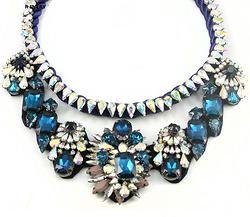 Blue Rhinestone Choker Necklace