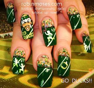 Oregon Duck Football nails by Robin Moses.