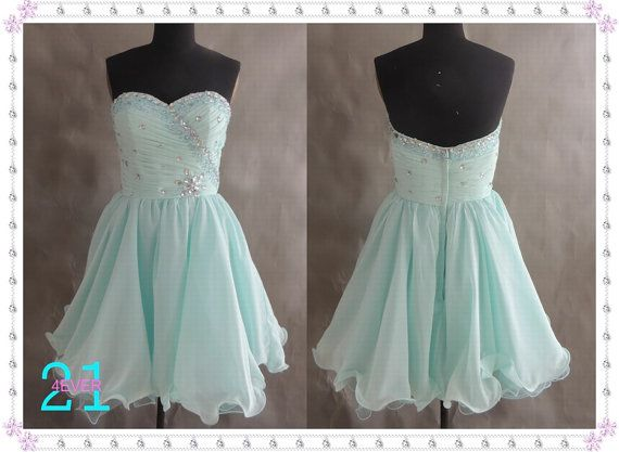 Short Beaded Prom Dress 2014 Prom Dress Sexy BlueGreen by 214EVER