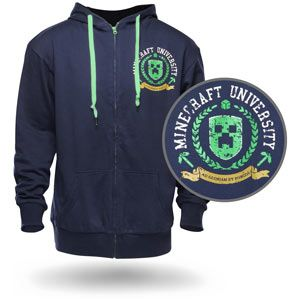 Minecraft University Hoodie  Our Motto: Ad Gloriam et Porcos.  Universities are a haven for Minecraft players, burning away extra hours between classes. Thinking up new ways to use redstone circuitry. Turning the cafeteria's mashed potatoes into blocks. The creativity is well nigh endless.