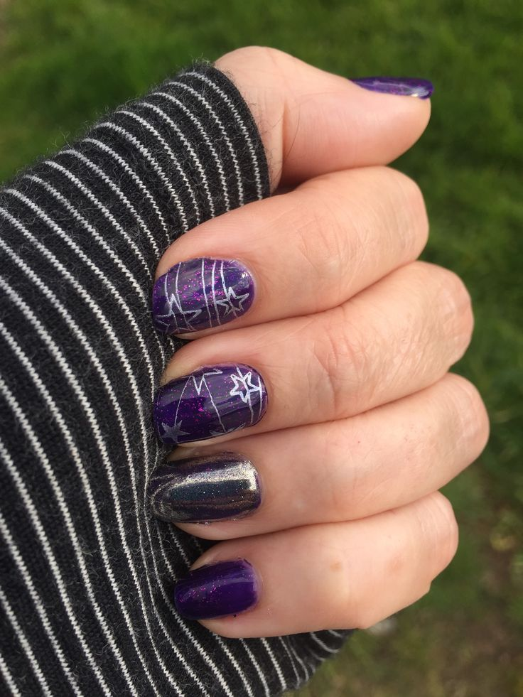 Madam Glam Purple sky with Magpie Tiara Chrome and Yours Cosmetics stamping
