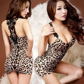Show details for Women Dresses Mini Sexy Leopard V-neck Sleeveless Dress Party  Dress