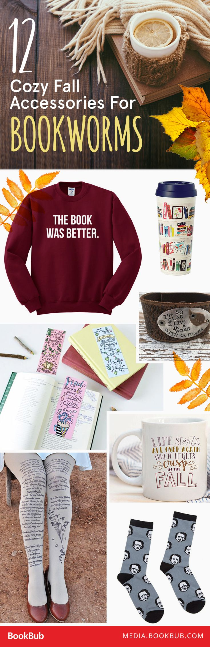 12 cozy fall accessories for bookworms. These make perfect gifts for your bookish friends!
