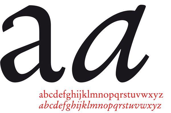 Letterfontein - Garamond Roman - Regular/Italic -  Italic versies hoorden niet altijd bij een font, maar zijn gebaseerd op het Italiaanse schoonschrift in 1500. Oorspronkelijk gebruikte men een cursieve letter om plaats te besparen, tegenwoordig om een woord te accentueren.