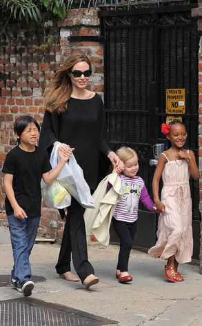 Angelina Jolie, Pax, Zahara & Vivienne - I wonder if they went to any of our family friendly destinations in New Orleans!
