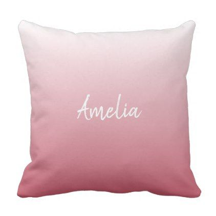Add a name Ombre salmon pink Throw Pillow - simple clear clean design style unique diy