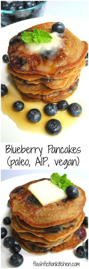 Paleo AIP Vegan Blueberry Pancakes from Flash Fiction Kitchen (sub applesauce or canned pumpkin for the bananas)