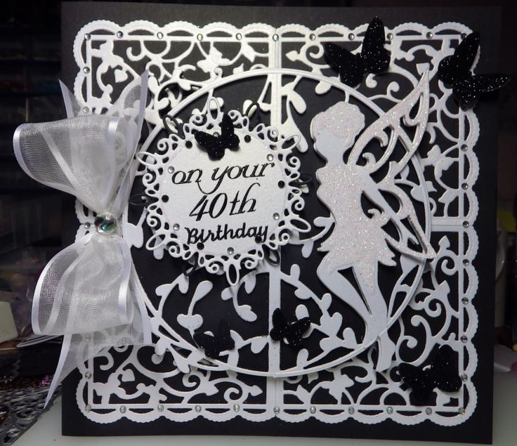 black and white fairy birthday card made with tonic fairy dies and tonic corners