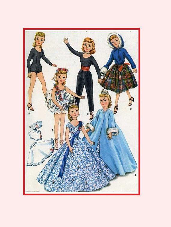 "Vtg Doll Clothes Pattern Ballerina ~ 10.5/"" Little Miss Revlon Cissette Jill Toni"