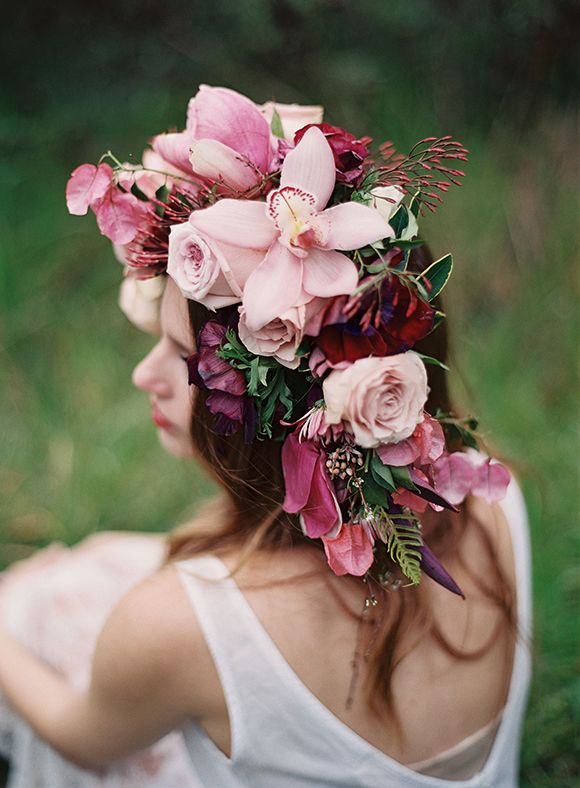 Stunning floral Crown by Fallon Shea & Jess Wilcox - via Magnolia Rouge - INGREDIENTS: Floral tape & wire / 5 burgundy Anemones / 3 magnolias / 7 quicksand roses / 3 burgundy ranunculus / 3 phalaenopsis orchids / budding spirea / daphne / jasmine / bougainvillea / sword fern / purple heart succulents