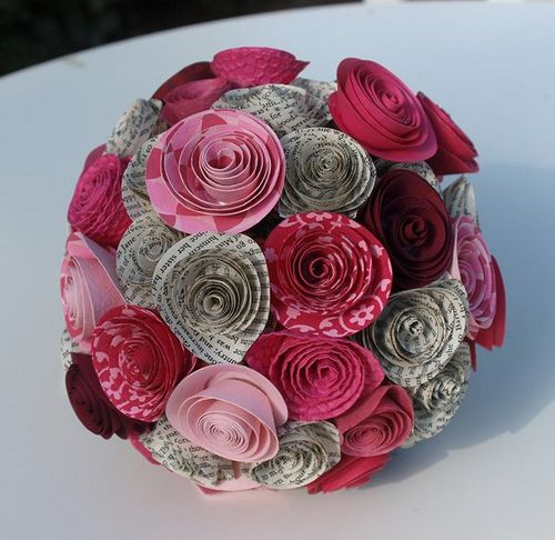 another paper flower bouquet: Books Pages, Rose Flowers, Paper Rose, Paper Anniversaries, Offbeat Bride, Cool Ideas, Flowers Ideas, Paper Flowers Bouquets, Paper Bouquets