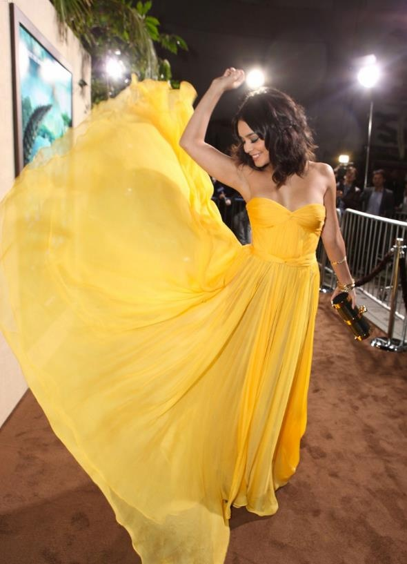 Vanessa Hudgens wearing Helga gown by MLH to the 'Journey 2: The Mysterious Island'