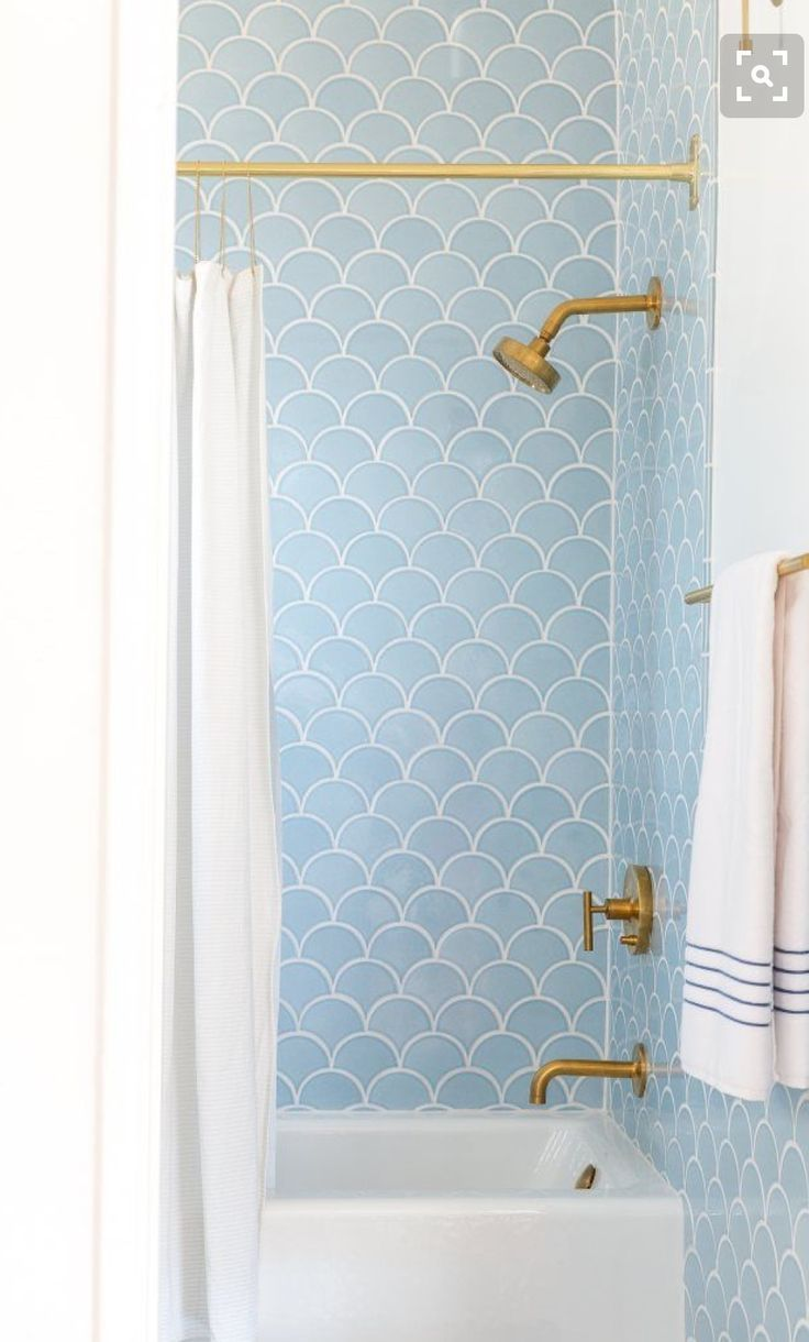 Blue Fish Tile Calming And Serene Just What You Want In A Zen Like Bathroom Click For More Bathr Small Bathroom Decor Bathroom Design Trends Bathroom Trends