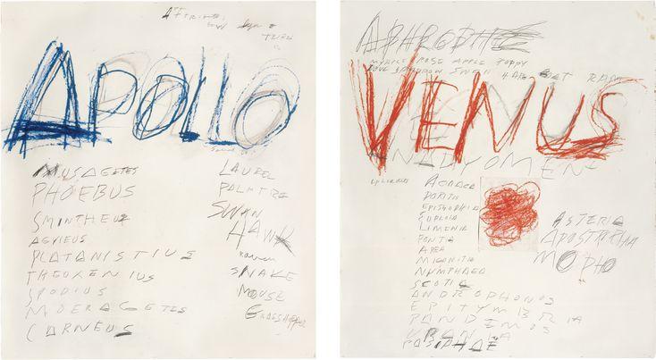 Apollo, 1975. Oil pastel and lead pencil on paper. 150 x 134 cm. // Venus, 1975. Oil Pastel, lead pencil and collage on paper. 150 x 137 cm.
