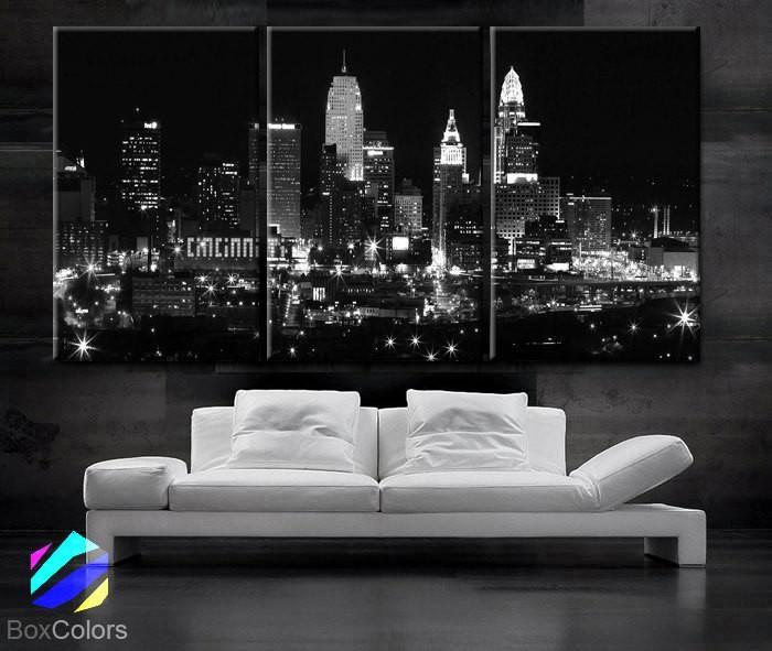 "LARGE 30""x 60"" 3 Panels Art Canvas Print Cincinnati Skyline night light Downtown Black & White Wall Home office decor (framed 1.5"" depth)"