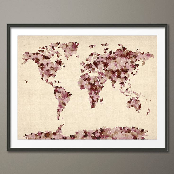 Love Hearts World Map Art Print