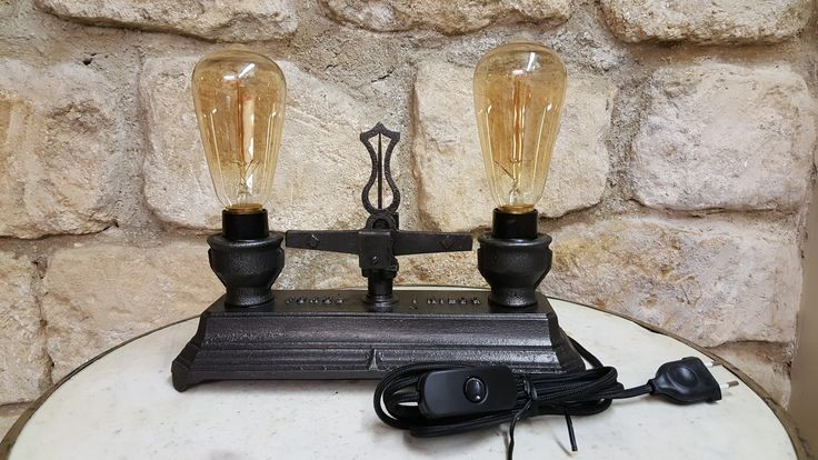 Upcycled Roberval Balance Scale Lamp (Lampe balance Roberval) made by www.avenuedesbonshommes.com