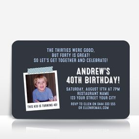 Milestone Birthday invitation with photo - blue