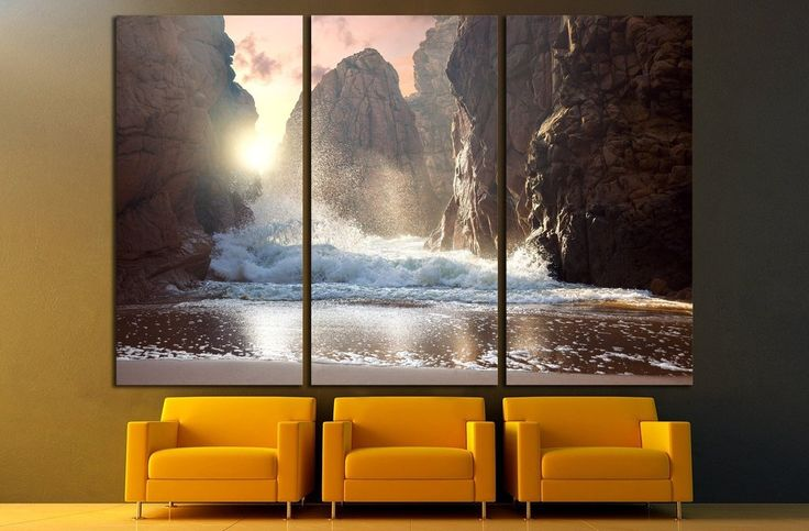 Fantastic big rocks and ocean waves at sundown time №1400 Canvas Print