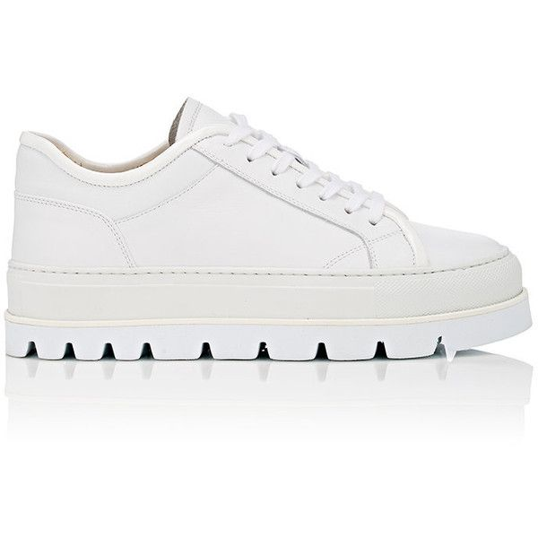 Maison Margiela Women's Platform Sneakers ($395) ❤ liked on Polyvore featuring shoes, sneakers, white, lace up sneakers, white patent leather shoes, platform trainers, rubber sole shoes and white lace up sneakers