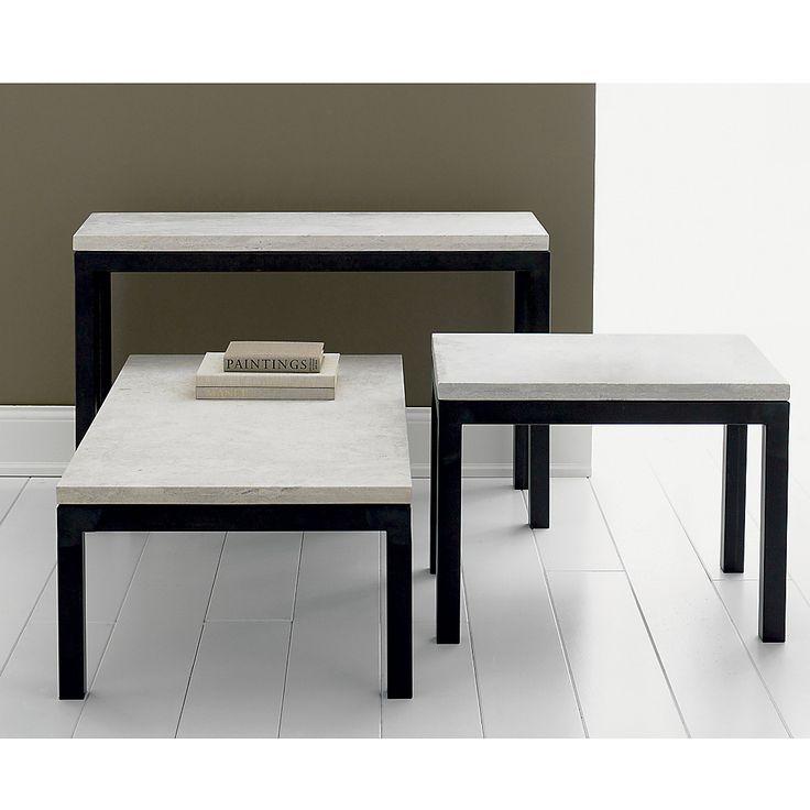 Parsons Travertine Top Dark Steel Base 48x28 Small Rectangular Coffee Table