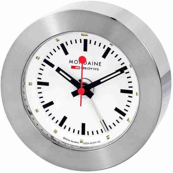 Mondaine White Dial Alarm Clock (88 CHF) ❤ liked on Polyvore featuring jewelry, watches, analog wrist watch, black and red watches, mondaine watches, stainless steel jewellery and alarm wrist watch