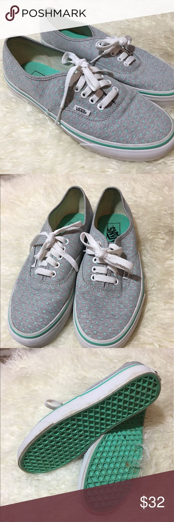 Women's Vans Skate Shoes Sz 8.5 Mint Green Gray Polka Dot Skate Shoes Vans Shoes Sneakers