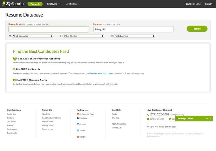 Search Resume Database ZipRecruiter CKeyboard Hide SaaS App - resume database