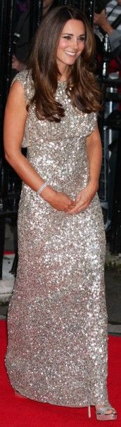 12 September 2013 - Silver Grey Jenny Packham Sequin Gown