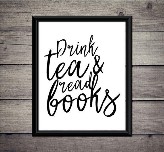 Thee drinken en lezen boeken  digitale Print door ThoughtWorksByAbby