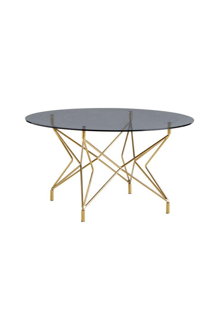 """Runt soffbord med underrede av metall och skiva av härdat, rökfärgat glas.  Mått: Ø 90 cm. Höjd 48 cm. Monterat. Vikt 18 kg.   Läs om fraktavgiften under fliken """"Leverans""""."""