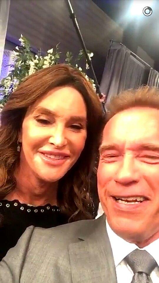 Happy friends Kate Jenner and Arnold Schwarzenegger posing for Snapchat 2016!