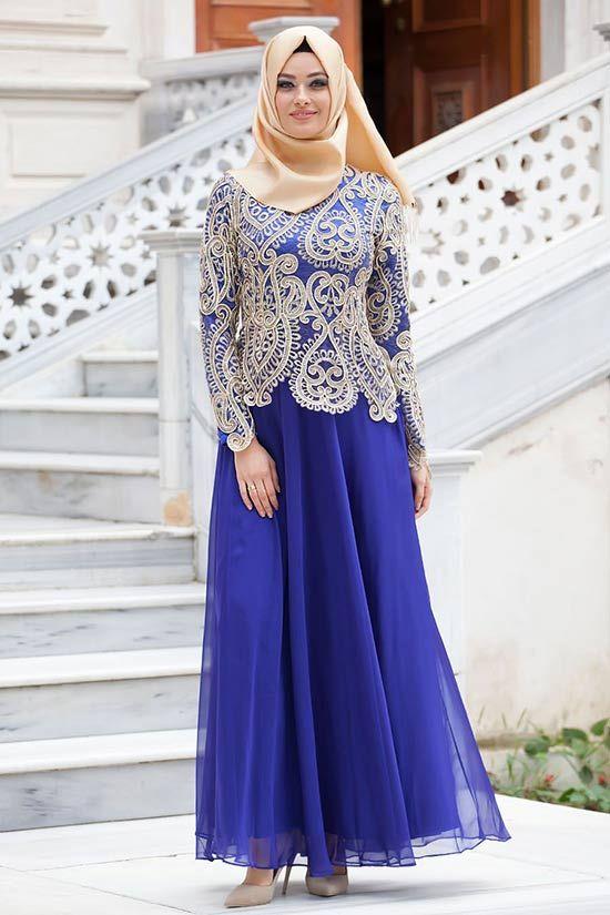 Puane-sax-mavi-abiye-elbise   Tesettürlü Gelinlikler ve Gelinlik Modelleri