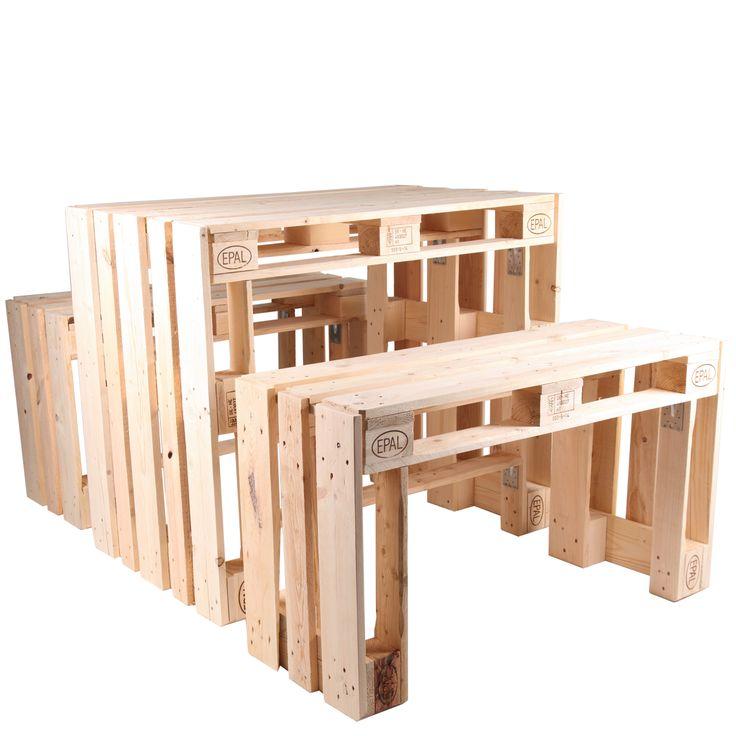 Outdoor-Sitzgruppe BJÖRN SET, bestehend aus einem Tisch und zwei Sitzbänken   Mit dem BJÖRN SET entscheiden Sie sich für eine robuste und handgear…