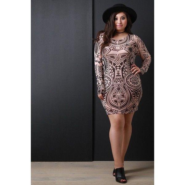 Semi-Sheer Tribal Mesh Bodycon Dress ($41) via Polyvore featuring dresses, bodycon mini dress, plus size mini dresses, mesh bodycon dress, plus size bodycon dresses and body con dress