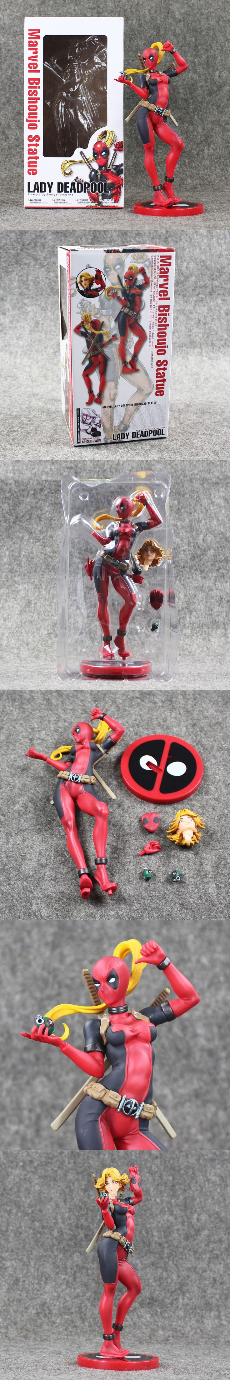 24cmCartoon Lady Deadpool Wanda Wilson from Earth-3010 Bishoujo Statue PVC Action Figure Collection Model Kids Toy Doll