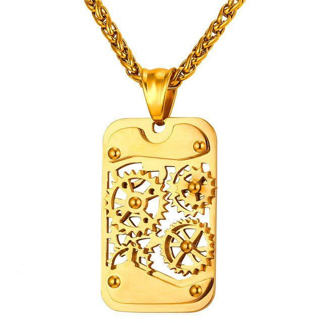 Steampunk Necklaces & Pendants Gold/Black Gun Plated Stainless Steel for Men