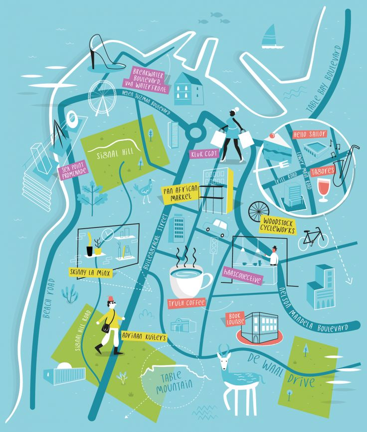 Illustrated map of Cape Town, South Africa - Tom Woolley