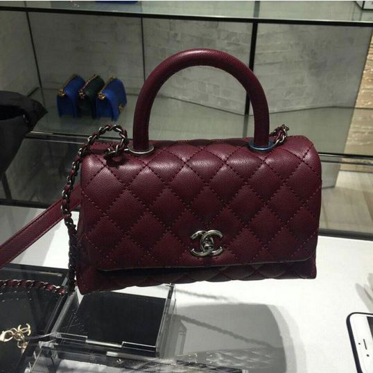 Chanel Burgundy Coco Handle Small Bag
