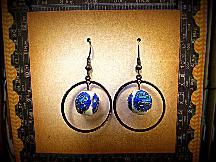 Hooped Blue and White Cloisonne Earrings www.madeit.com.au/MadeByKasame
