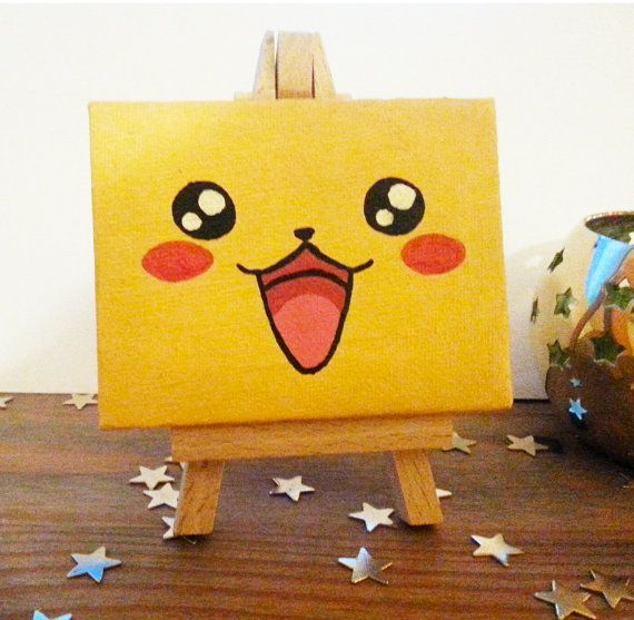 Pikachu face  Mini Canvas by TreacleTownTreasures on Etsy, £8.50