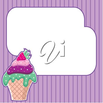 Royalty Free Clipart Image of a Cupcake With a Message Cloud