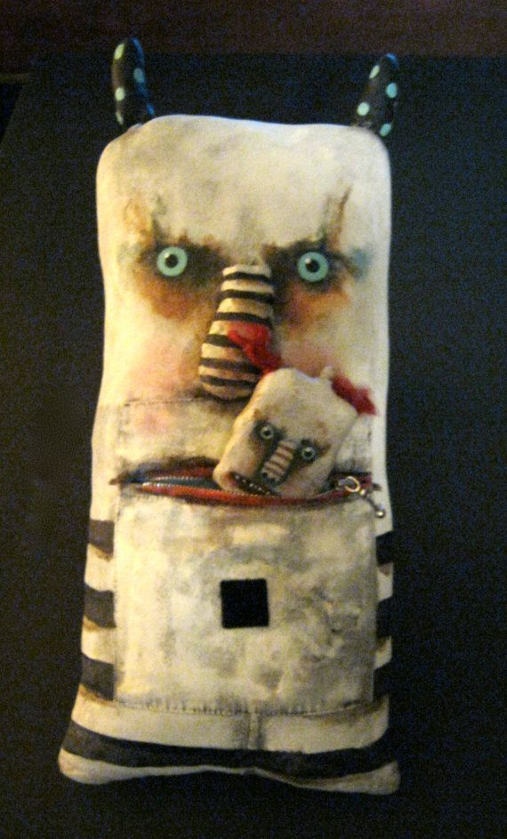hungry Monster art doll, Monster eats monster ,big ooak doll, zipper mouth…